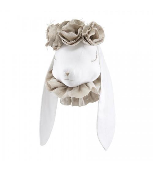 Królik Lniany Biały z Naturalnymi Kwiatkami