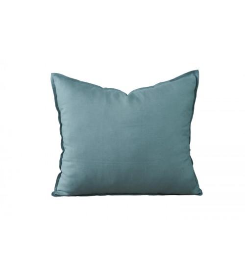 Lniana poduszka dekoracyjna w kolorze petrol