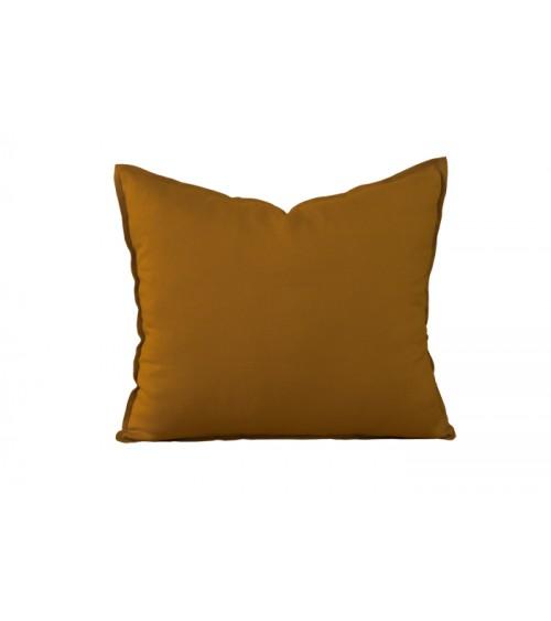 Lniana poduszka dekoracyjna w kolorze ciemnej musztardy
