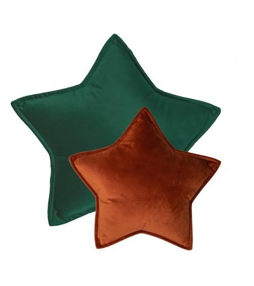 Poduszka gwiazdka zestw aksamitna leśna zieleń i cegła