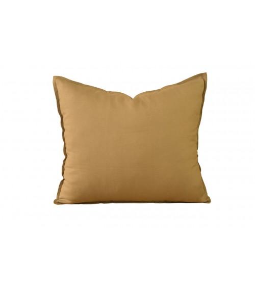 Lniana poduszka dekoracyjna w kolorze jasnej musztardy