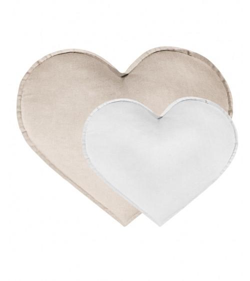 Zestaw 2 poduszek serca naturalny /biały