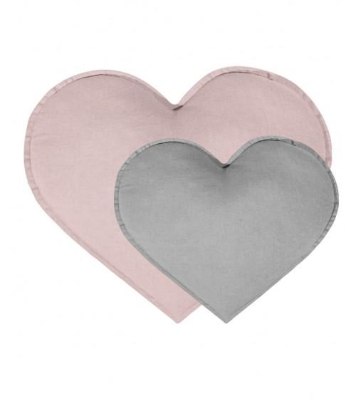 Zestaw 2 poduszek serca brudny róż / szary
