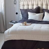 Czy Wy też najchętniej zostalibyście w tej  przytulnej sypialni ? 🕊  To za sprawa naszych lnianych pościeli oraz poduch , które możecie wybierać w szerokiej gamie kolorów i rozmiarów 🌱  Całość dopełnia to piękne wnętrze u @thymka   #len #lino #linenbedding #lnianaposciel #nature #organic #poduszkidekoracyjne #lnianepoduszki #linenpillow #narzuta #lniananarzuta #linenbedspread